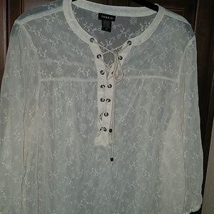 Womens Sheer Mandarin Collar Off White Blouse 00